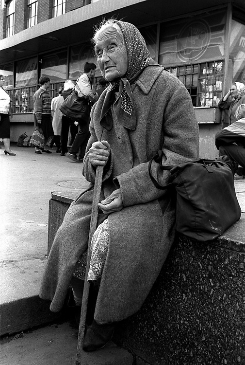 Begging on the streets near railway station.<br /> St Petersburg, Russia, 1994