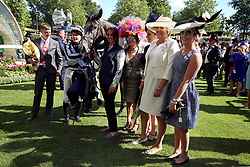 Jockey Colm O'Donoghue after winning the Coronation Stakes on Alpha Centauri during day four of Royal Ascot at Ascot Racecourse.