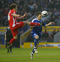 Photo: Steve Bond/Richard Lane Photography. Leicester City v Leyton Orient. Coca Cola League One. 10/01/2009. Mark Davies (R) heads in no2, and is clatterd into by Andrew Cave-Brown.