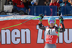 27.10.2013, Rettenbachferner, Soelden, AUT, FIS Weltcup, Ski Alpin, Riesenslalom, Herren, Podium, im Bild Ted Ligety from The USA winner of the race celebrates // Ted Ligety from The USA winner of the race celebrateson podium of mens Giant Slalom of the FIS Ski Alpine Worldcup opening at the Rettenbachferner in Soelden, Austria on 2012/10/27. EXPA Pictures © 2013, PhotoCredit: EXPA/ Mitchell Gunn<br /> <br /> *****ATTENTION - OUT of GBR*****