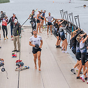NZ eights coming in from the pre-race training row <br /> <br /> Racing the Finals at FISA World Rowing Cup III on Sunday 14 July 2019 at the Willem Alexander Baan,  Zevenhuizen, Rotterdam, Netherlands. © Copyright photo Steve McArthur / www.photosport.nz