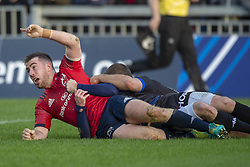 December 9, 2018 - Limerick, Ireland - JJ Hanrahan of Munster scores a try during the Heineken Champions Cup Round 3 match between Munster Rugby and Castres Qlympique at Thomond Park Stadium in Limerick, Ireland on December 9, 2018  (Credit Image: © Andrew Surma/NurPhoto via ZUMA Press)