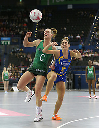 Celtic Dragons' Kyra Jones (left) and Team Bath Netball's Mia Ritchie battle for the ball during the Vitality Netball Superleague Super Ten match held at Arena Birmingham