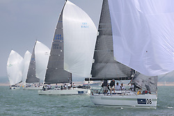 Brewin Dolphin Scottish Series 2014, the start of an International IRC competition racing on the Solent off Cowes and hosted by the RORC.<br /> <br /> NED 7025, Eleuthera, from France Red<br /> <br /> Credit: Marc Turner