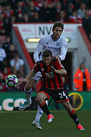 Football - 2016 / 2017 Premier League - AFC Bournemouth vs. Chelsea<br /> <br /> Marcos Alonso of Chelsea climbs above Bournemouth's Ryan Fraser to head clear at the Vitality Stadium (Dean Court) Bournemouth<br /> <br /> COLORSPORT/SHAUN BOGGUST