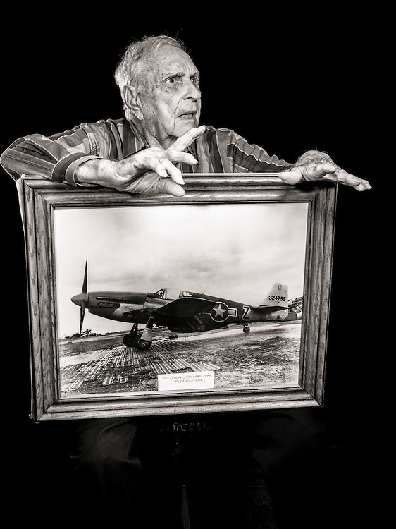 Billy D. Welch flew 83 combat missions as a fighter pilot, and in November of 1944 was assigned to Scotland to train new fighter pilots how to fly the P-51.  He has been a flight instructor since then, a period of 72 years.   <br /> <br /> Created by aviation photographer John Slemp of Aerographs Aviation Photography. Clients include Goodyear Aviation Tires, Phillips 66 Aviation Fuels, Smithsonian Air & Space magazine, and The Lindbergh Foundation.  Specialising in high end commercial aviation photography and the supply of aviation stock photography for advertising, corporate, and editorial use.