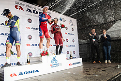 Second placed Frantisek Sisr of Elkov Author Cycling Team, Winner Marko Kump of KK Adria Mobil and Third placed Daniel Auer of Maloja Pushbikers celebrate at Trophy ceremony after the cycling race 5th Grand Prix Adria Mobil, on April 7, 2019, in Slovenia. Photo by Vid Ponikvar / Sportida