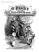 Frontispiece to Mr Punch's Coronation Number, 1911 (Mr Punch dressed as a jester entertains King George V)