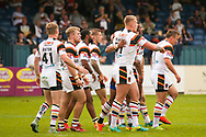 Bradford Bulls replacement Mikolaj Oledzki (31) scores a try and celebrates to make the score  10-14 during the Kingstone Press Championship match between Swinton Lions and Bradford Bulls at the Willows, Salford, United Kingdom on 20 August 2017. Photo by Simon Davies.