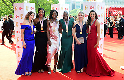 Members of England's gold medal winning netball team from the gold coast commonwealth games attending the Virgin TV British Academy Television Awards 2018 held at the Royal Festival Hall, Southbank Centre, London.
