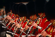 An entire rank of Grenadier Guardsmen musicians are playing clarinets as part of the Queen's Golden Jubilee celebrations, one event in a series to mark her 50th year on the throne. The soldiers have formed a marching band guard that is making its way along the Mall, that broad avenue from Buckingham Palace. Focus is on one guardsman whose bearskin is slightly higher than his of his comrades. Their music sheets are pinned on specially adapted stands on the ends on their instruments making the job of marching in absolutely straight, regimented lines the more easier. The Grenadier Guards (GREN GDS) is the most senior regiment of the Guards Division of the British Army, and, as such, is the most senior regiment of infantry. The Grenadier Guards celebrated its 350th anniversary in 2006.