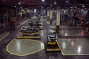 Fiat car factory, Turin, Italy. In the 1980's Fiat used automated carriers guided by wires in the floor to move cars and parts from one assembly station to another: LAM. Called 'Robogate' by Fiat.