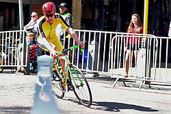 JOHANNESBURG, SOUTH AFRICA – AUGUST 13: Carl Lotter accelerates into a corner during the Helivac Melrose Arch Criterium race on 13 August 2017 in Johannesburg, South Africa. Cyclists competed in a criterium race hosted at the popular Merose Arch, criterium racing takes place on short course within a closed circuit. The racing is hotly contested over a number of laps as riders jostle for posistion. (Photo by Dino Lloyd)