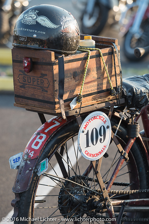 Alex Trepanier's 1913 Indian after crossing the finish line at the end of the first day of the Motorcycle Cannonball Race of the Century. Stage-1 from Atlantic City, NJ to York, PA. USA. Saturday September 10, 2016. Photography ©2016 Michael Lichter.