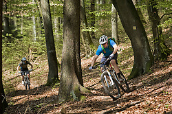 Young men mountainbiking in forest, Bavaria, Germany