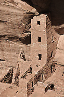 Square Tower House.  Was once 86 feet tall with 80 rooms.  Mesa Verde National Park.  Colorado, USA.