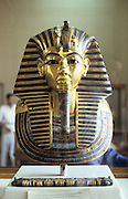 Golden death mask of Tutankamen (Tutankhamun) dc1340BC. Ancient Egyptian Pharaoh.