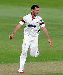 Somerset's Lewis Gregory celebrates the wicket of Middlesex's Neil Dexter. - Photo mandatory by-line: Harry Trump/JMP - Mobile: 07966 386802 - 27/04/15 - SPORT - CRICKET - LVCC Division One - County Championship - Somerset v Middlesex - Day 2 - The County Ground, Taunton, England.