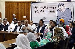 April 25, 2017 - Pakistan - PESHAWAR, PAKISTAN, APR 25: Dr. Alam Mehsud addresses to attendees during seminar .about Mashal Khan organized by Pakhtunkhwa Ulasi Tehreek (PUT), held at Peshawar press .club on Tuesday, April 25, 2017. (Credit Image: © PPI via ZUMA Wire)