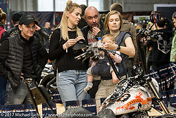 Sergei Maltese of FCM (Fine Custom Mechanics of Moscow) with Anastasia Kostina and her baby Tasia and close friend Natasha Khirtrova at the Custom and Tuning Show, the custom bike show portion of the big Motor Spring bike show in Moscow, Russia. Saturday April 22, 2017. Photography ©2017 Michael Lichter.