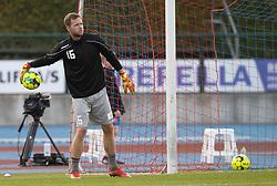 Målmand Mikkel Bruhn (Hvidovre IF) før kampen i 1. Division mellem Hvidovre IF og FC Helsingør den 15. september 2020 på Pro Ventilation Arena, Hvidovre Stadion (Foto: Claus Birch).