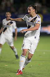 May 30, 2018 - Carson, California, U.S - Zlatan Ibrahimovic #9 of the LA Galaxy kicks the ball for a goal during their MLS game against FC Dallas on Wednesday, May 30, 2018 at the Stub Hub Center in Carson, California. LA Galaxy Lose to FC Dallas, 2-3 (Credit Image: © Prensa Internacional via ZUMA Wire)