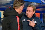 Harry Redknapp, manager of QPR talking to Manchester United Manager Louis van Gaal before k/o. Barclays Premier league match, Queens Park Rangers v Manchester Utd at Loftus Road in London on Saturday 17th Jan 2015. pic by John Patrick Fletcher, Andrew Orchard sports photography.