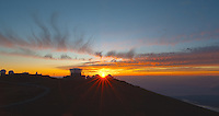 Sunset over Haleakala Satellite Tracking Station from Pu'U'Ula'Ula peak in Haleakala National Park, Maui Hawaii. Image taken with a Nikon D3x and 24 mm f/3.5 PC-E lens (ISO 100, f/16, 1/10 sec). NIK HDR Pro (5 images)