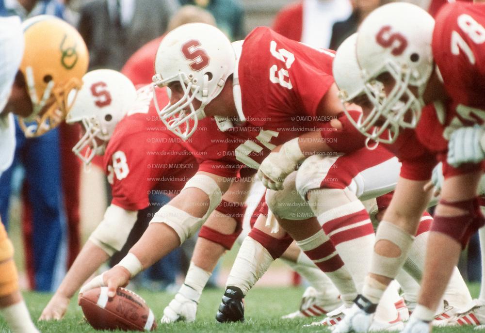 COLLEGE FOOTBALL:  Stanford vs Oregon on November 16, 1981 at Stanford Stadium in Palo Alto, California.  John Macaulay #66.   Photograph by David Madison ( www.davidmadison.com ).
