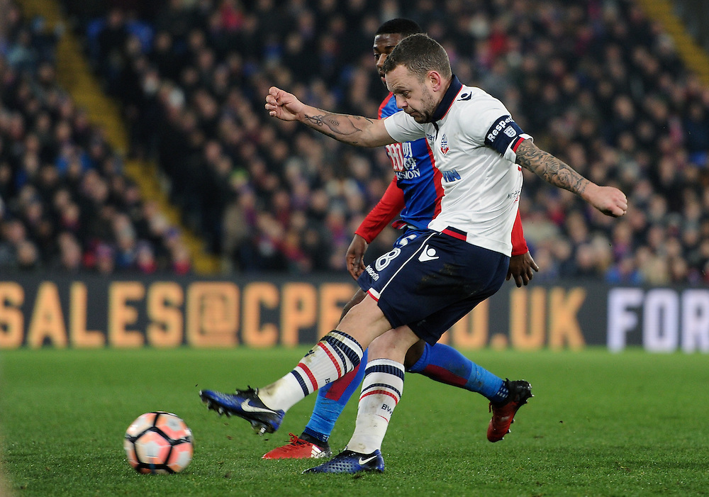 Bolton Wanderers' Jay Spearing in action during todays match  <br /> <br /> Photographer Ashley Western/CameraSport<br /> <br /> Emirates FA Cup Third Round Replay - Crystal Palace v Bolton Wanderers - Tuesday 17th January 2017 - Selhurst Park - London<br />  <br /> World Copyright © 2017 CameraSport. All rights reserved. 43 Linden Ave. Countesthorpe. Leicester. England. LE8 5PG - Tel: +44 (0) 116 277 4147 - admin@camerasport.com - www.camerasport.com