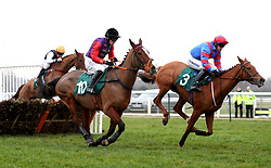 """Runners and Riders competing in the racingtv.com/freetrial Mares' """"National Hunt"""" Novices' Hurdle during Midlands Raceday at Warwick Racecourse."""