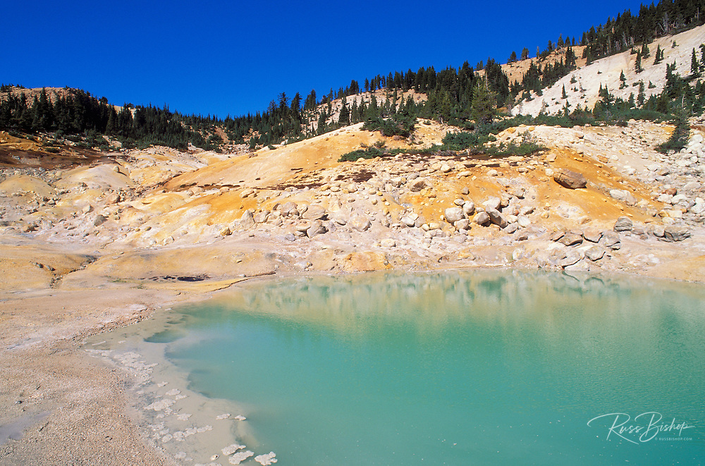 Morning light on the West Pyrite Pool at the Bumpass Hell geothermal area, Cascade Mountains (Pacific Ring of Fire), Lassen Volcanic National Park, California