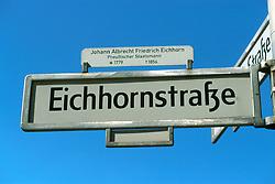 GERMANY BERLIN APR04 - Street sign of Eichhornstrasse, Berlin.<br /> <br /> <br /> <br /> jre/Photo by Jiri Rezac <br /> <br /> <br /> <br /> © Jiri Rezac 2004