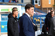 Wigan Athletic Manager Gary Caldwell looks on prior to kick off. Skybet football league one match , Bury v Wigan Athletic at the JD Stadium in Bury, Lancs on Saturday 10th October 2015.<br /> pic by Chris Stading, Andrew Orchard sports photography.