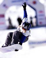 Snowboard, snøbrett, NM halfpipe Kongsberg Skisenter 24. mars 2001. Maren Lutro.
