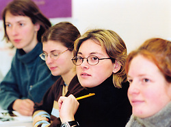 Line of students in seminar; Huddersfield Technical College; UK