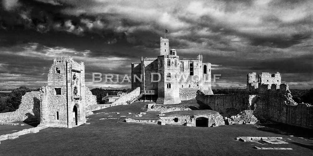 """Warkworth Castle is the scene from Shakespeare's Henry IV: """"this worm-eaten hold of ragged stone, where Hotspur's father, old Northumberland, lies crafty-sick""""  Aspect Ratio 1w x 0.5h."""