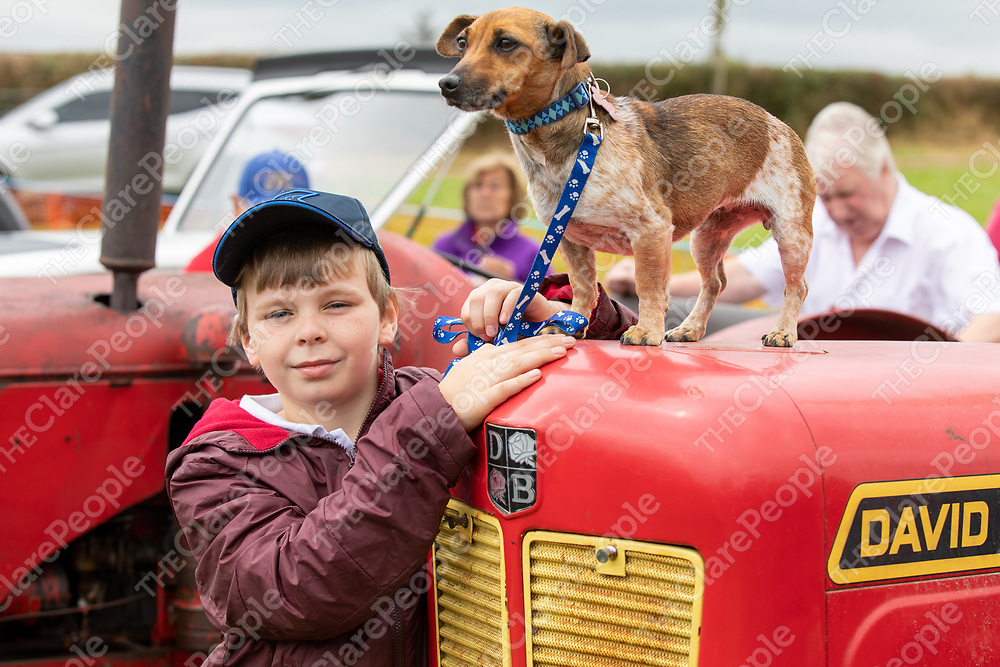 Tiernan O'Neill from Coolmeen with Tiernan the dog at the 2019 Annual Kildysart Agricultural Show