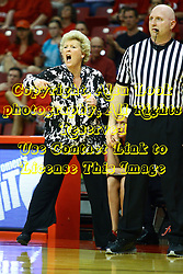 15 March 2012:  Coach Stephanie Glance directs her players while standing next to referee Jeff Cross during a first round WNIT basketball game between the Central Michigan Chippewas and the Illinois Sate Redbirds at Redbird Arena in Normal IL