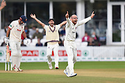 Jack Leach of Somerset unsuccessfully appeals for an lbw against Alastair Cook of Essex during the Specsavers County Champ Div 1 match between Somerset County Cricket Club and Essex County Cricket Club at the Cooper Associates County Ground, Taunton, United Kingdom on 26 September 2019.