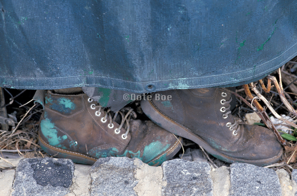 pair of worn boots