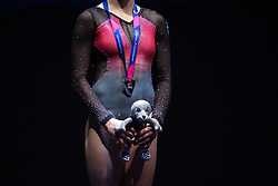 August 5, 2018 - Glasgow, UNITED KINGDOM - 180805 Jonna Adlerteg of Sweden at the podium with her silver medal after the final of women's uneven bars in Artistic Gymnastics during the European Championships on August 5, 2018 in Glasgow..Photo: Joel Marklund / BILDBYRN / kod JM / 87768 (Credit Image: © Joel Marklund/Bildbyran via ZUMA Press)