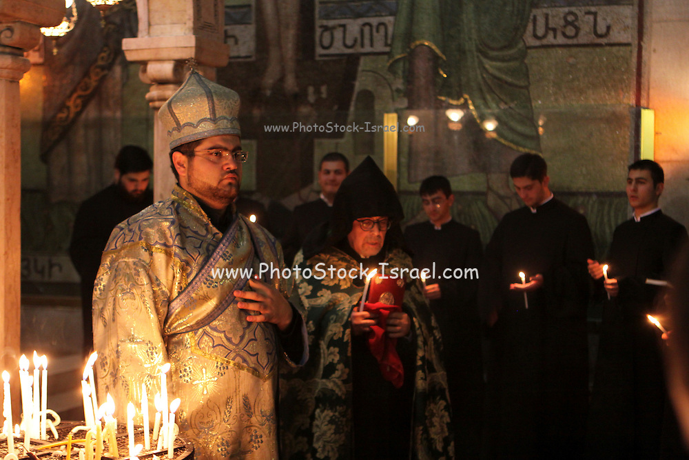 Israel, Jerusalem, Old City, Interior of the Church of the Holy Sepulchre Armenian ceremony
