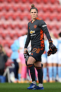 Portrait full length Manchester United goalkeeper Mary Earps (27) during the FA Women's Super League match between Manchester United Women and Manchester City Women at Leigh Sports Village, Leigh, United Kingdom on 14 November 2020.