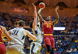 Mar 6, 2019; Morgantown, WV, USA; Iowa State Cyclones forward Zoran Talley Jr. (23) shoots during the first half against the West Virginia Mountaineers at WVU Coliseum. Mandatory Credit: Ben Queen-USA TODAY Sports