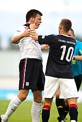 Dundee's Craig McKeown punched by Falkirk's Kallum Higginbotham..Falkirk 1 v 0 Dundee, Ramsdens Cup Second Round, 9th August 2011.
