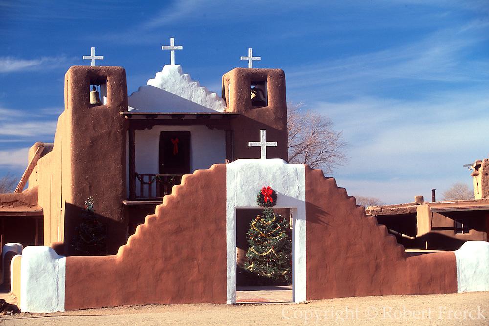 NATIVE AMERICAN CULTURE TAOS PUEBLO; adobe church