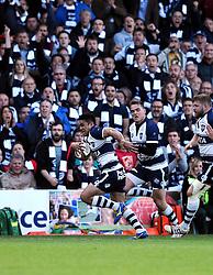 Bristol Left Wing David Lemi breaks free to score  try  - Photo mandatory by-line: Joe Meredith/JMP - Mobile: 07966 386802 - 20/05/2015 - SPORT - Rugby - Bristol - Ashton Gate - Bristol Rugby v Worcester Warriors - Greene King IPA Championship - Play-Off Final