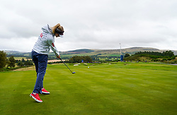Auchterarder, Scotland, UK. 12 September 2019. Final practice day at 2019 Solheim Cup on Centenary Course at Gleneagles. Pictured; Nelly Korda Drives on the 8th hole.  Iain Masterton/Alamy Live News