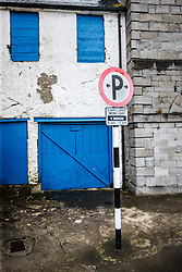 Parking sign and colorful doors, Westport, County Mayo, Ireland